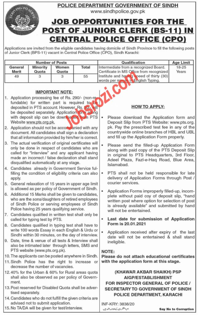 Sindh Police Junior Clerk Jobs